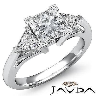 3 Stone Princess Diamond Women's Engagement Ring GIA I Color VS2 Platinum 1.8 ct