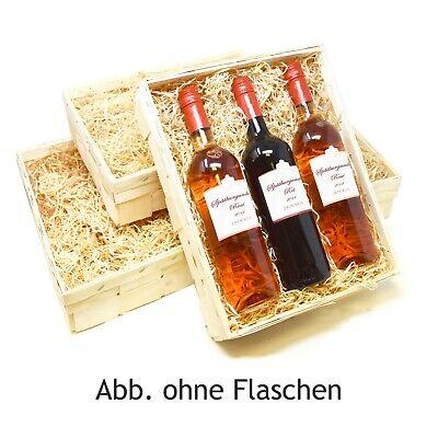 Wein Kisten Set Präsentkorb 3 Flaschen Verpackung, Spankorb Stiege mit Holzwolle (Geschenk-korb Mit Wein)