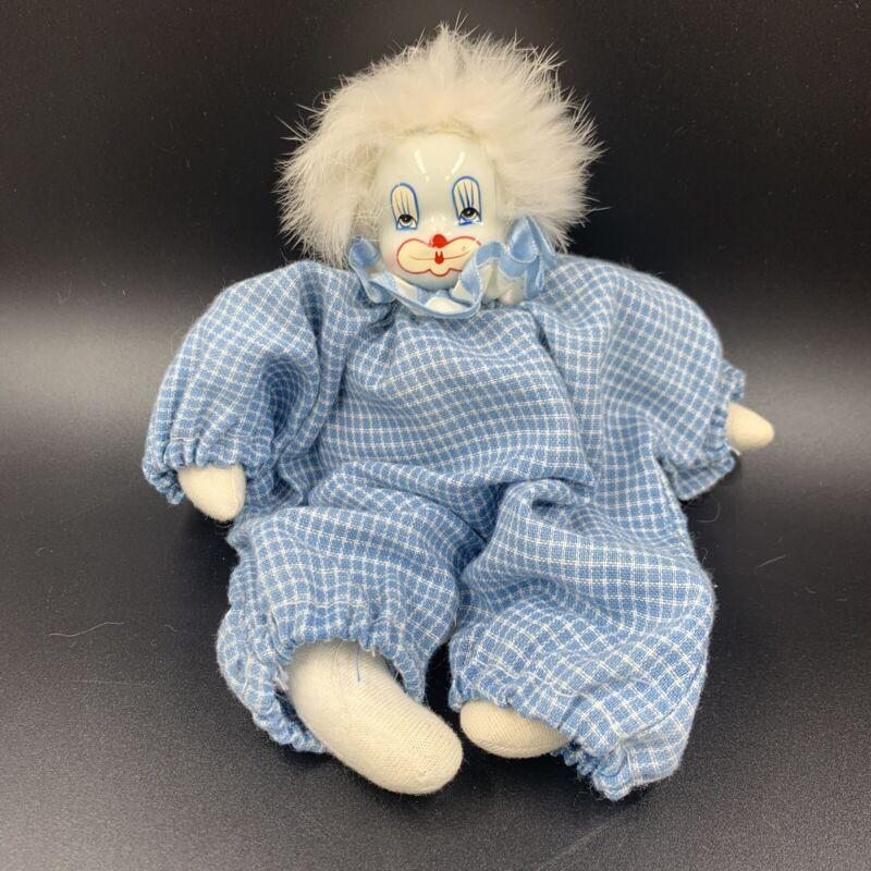 Vintage Q-TEE? CLOWN Doll-- White Porcelain Face, White Hair, Light Blue Outfit