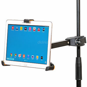 iPad Tablet Holder Music Microphone Mic Stand Clamp Mount 8.9-10.4 inch PAD405