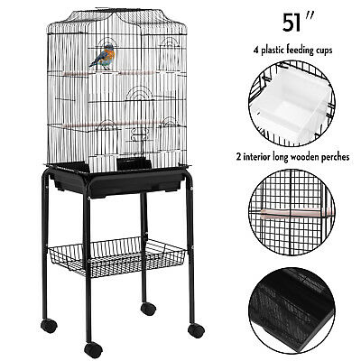 Large Tall Bird Parrot Cage Cockatiel Finch Aviary Pet Play House w/Stand Wheels