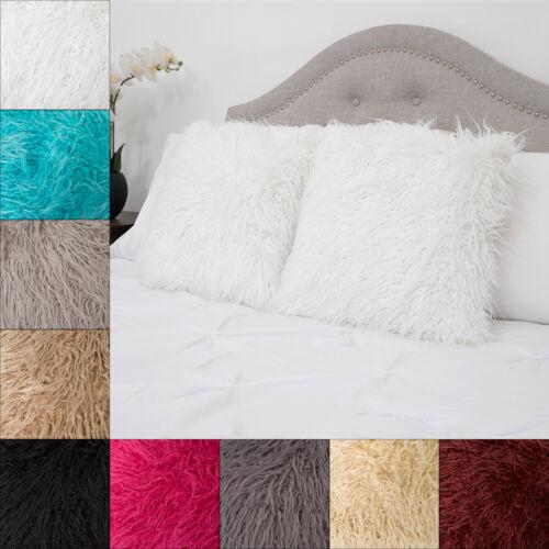Mongolian Long Hair Faux Fur Decorative Throw Pillow Pair 18″ x 18″ Asst Colors Home & Garden
