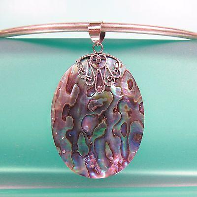 "2"" Natural Abalone Paua Shell Oval Handmade Pendant 925 Sterling Silver"