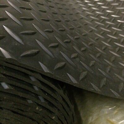 RUBBER FLOOR MAT SAFETY LARGE DIAMOND STYLE ANTI SLIP 1.5m WIDE x 3mm COMMERCIAL