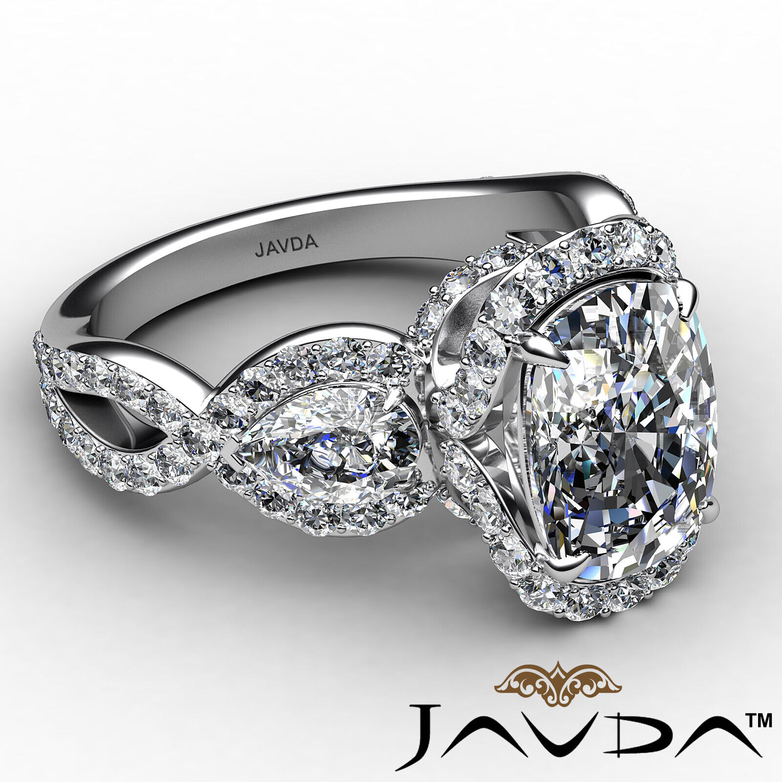 Halo Cushion Diamond Engagement Ring GIA Certified J Color & VS2 clarity 2.4 ctw 6