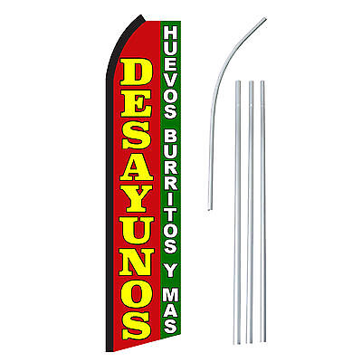 Desayunos - Advertising Sign Swooper Feather Banner Flag Pole Only