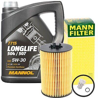 MANN-FILTER ÖLFILTER + 5 LITER MANNOL LONGLIFE 5W-30 MOTORÖL VW 504 507.00 5W30
