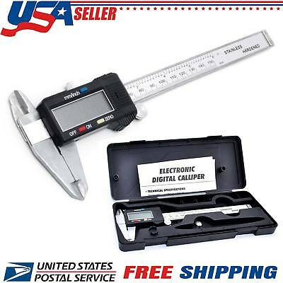 150mm 6 Digital Lcd Stainless Steel Electronic Gauge Vernier Caliper Ruler Usa
