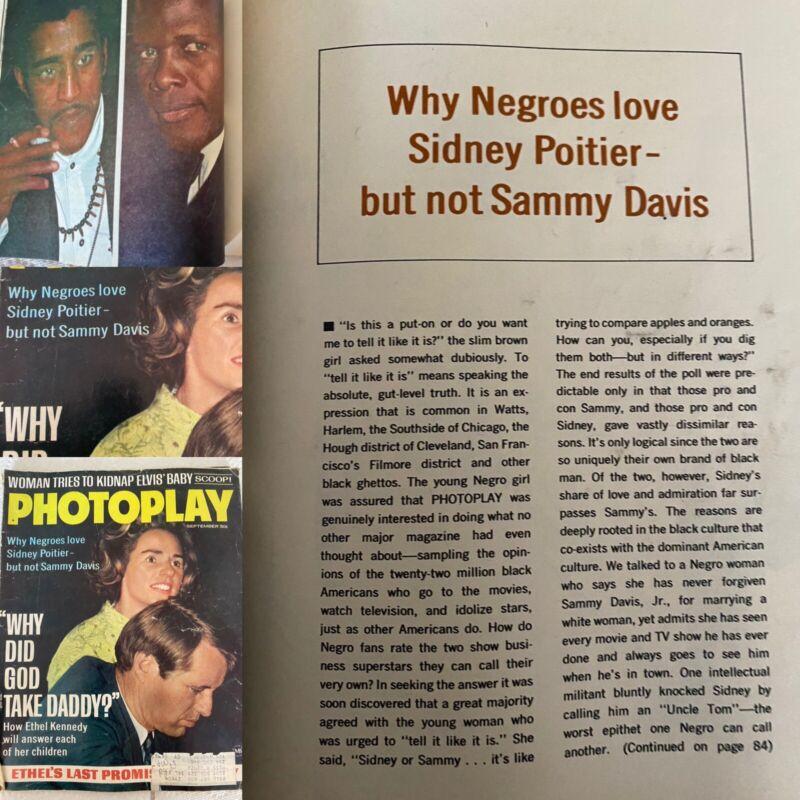 Vintage PHOTOPLAY 1968 Magazine, Sidney Poitier vs Sammy Davis Jr Bobby Kennedy