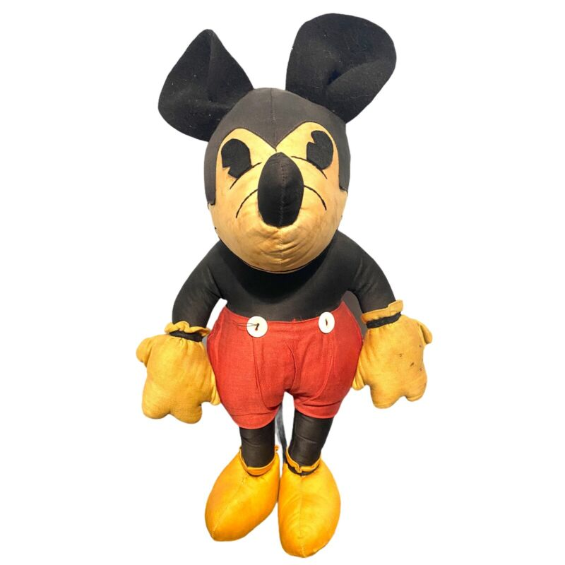 Antique 1930's Charlotte Clark Mickey Mouse Doll/ Plush Toy - Vintage Disney