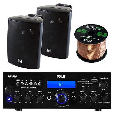 "PPDA6BU FM USB 200W Stereo Receiver, 4"" Dual Black 100W Box Speakers and Wiring"
