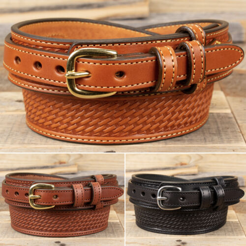 Amish Handmade Basketweave Embossed Ranger Belt - Yoder Leather