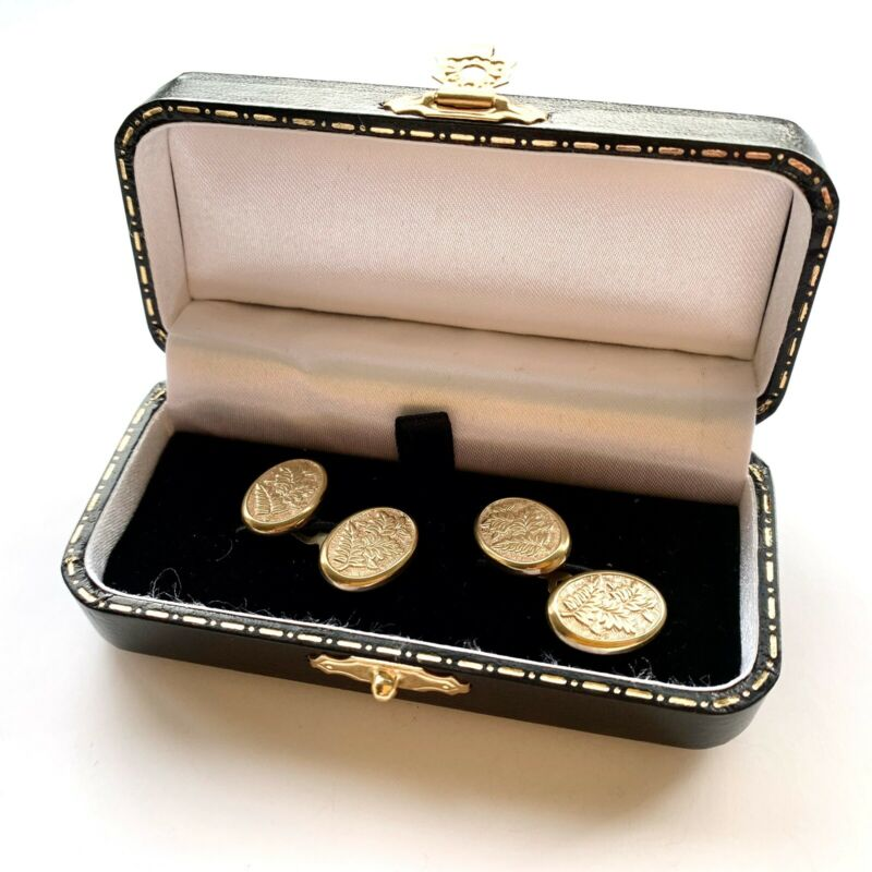Antique Edwardian Fern Cufflinks - Wedding Cufflinks - Boxed