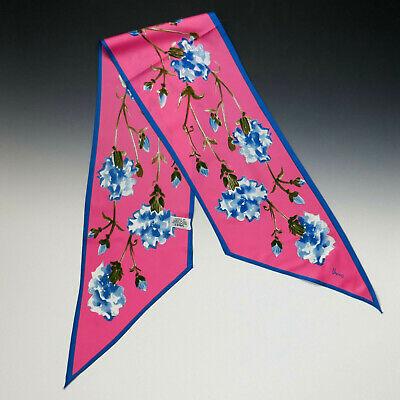 Vintage Scarf Styles -1920s to 1960s Vintage VERA Polyester Hot Pink Blue Floral Carnation Scarf Tie $10.00 AT vintagedancer.com