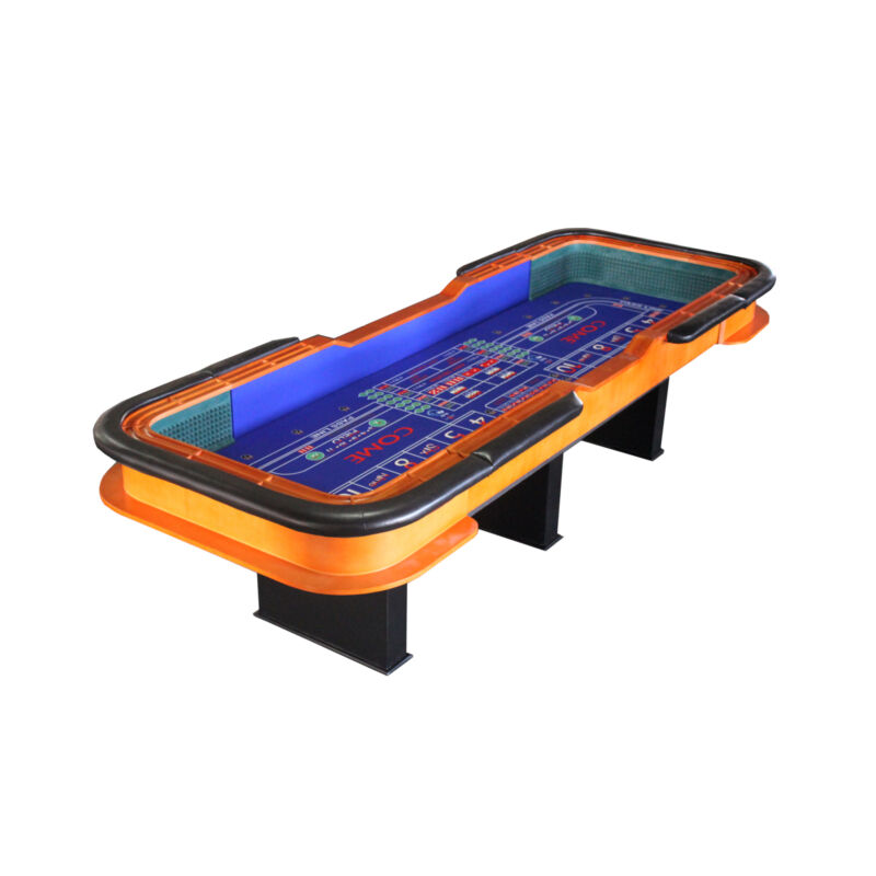 12 Foot Deluxe Craps Dice Table with Diamond Rubber Prdmium Casino Table Blue