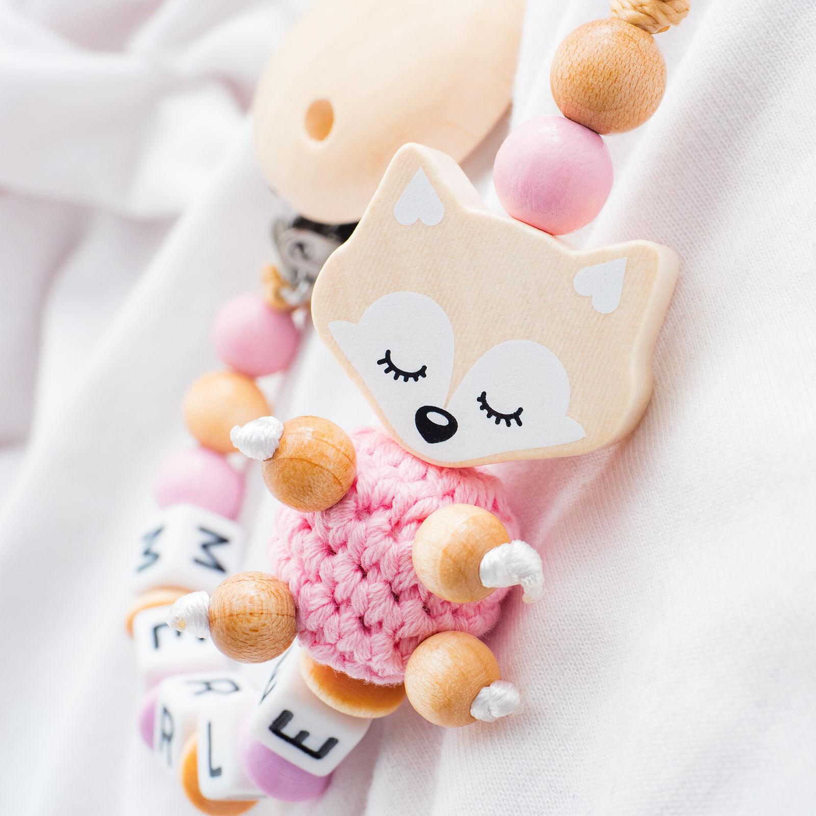 Schnullerkette mit Namen ♥ XL Träum Fuchs ♥ Häkelperle ♥ Baby Mädchen rosa Holz