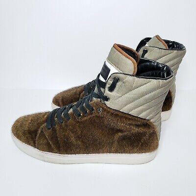Android Homme Propulsion 2.5 Brown Fuzzy Men's Sze 13 Hi Top Athletic Sneakers