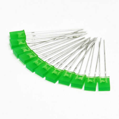 50pcs 2x5x7mm Rectangle LED Green Colour Green Light Emitting Diode for Arduino
