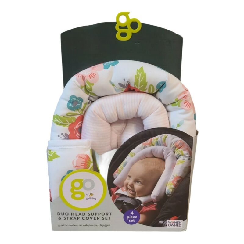 Go by Goldbug Floral Duo Car Seat Head Support and Strap Cover Set NEW 4 Pieces