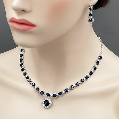 Gold Sapphire Set (White Gold Plated Sapphire Cubic Zirconia Necklace Earrings Jewelry Set)