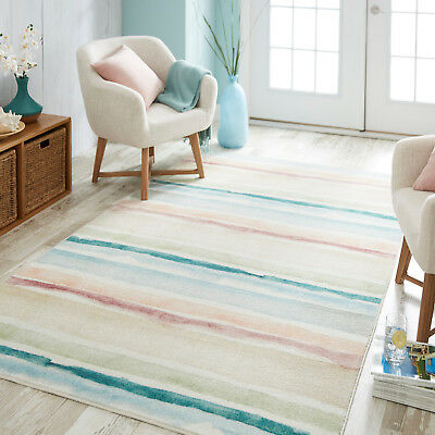 Polyester Tropical Rug (Coastal Stripe Tropical Island Beach Nautical Pastel Area Rug **FREE SHIPPING** )