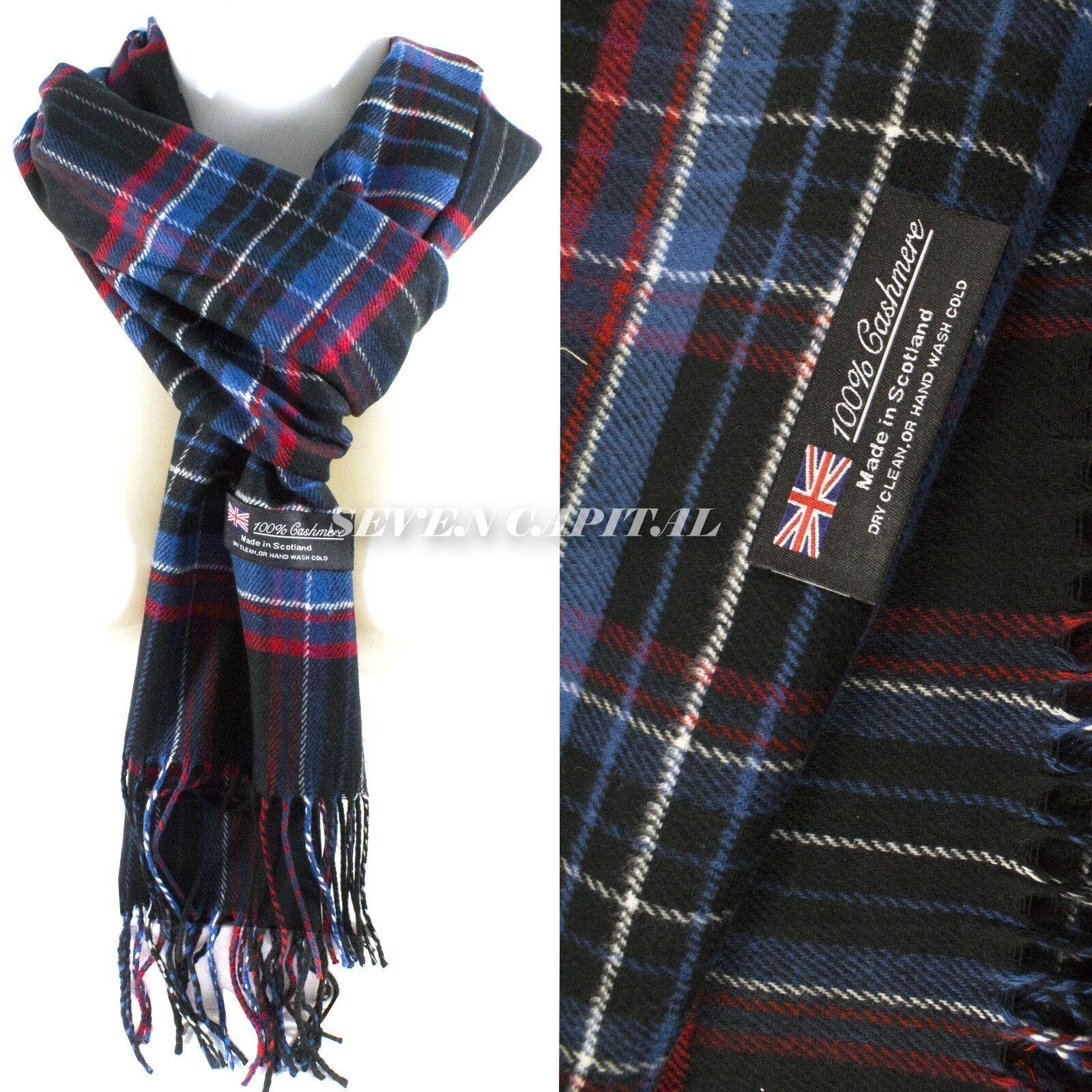 Mens Womens Winter Warm SCOTLAND Made 100% CASHMERE Scarf Scarves Plaid Wool 24. Plaid: Dark Navy