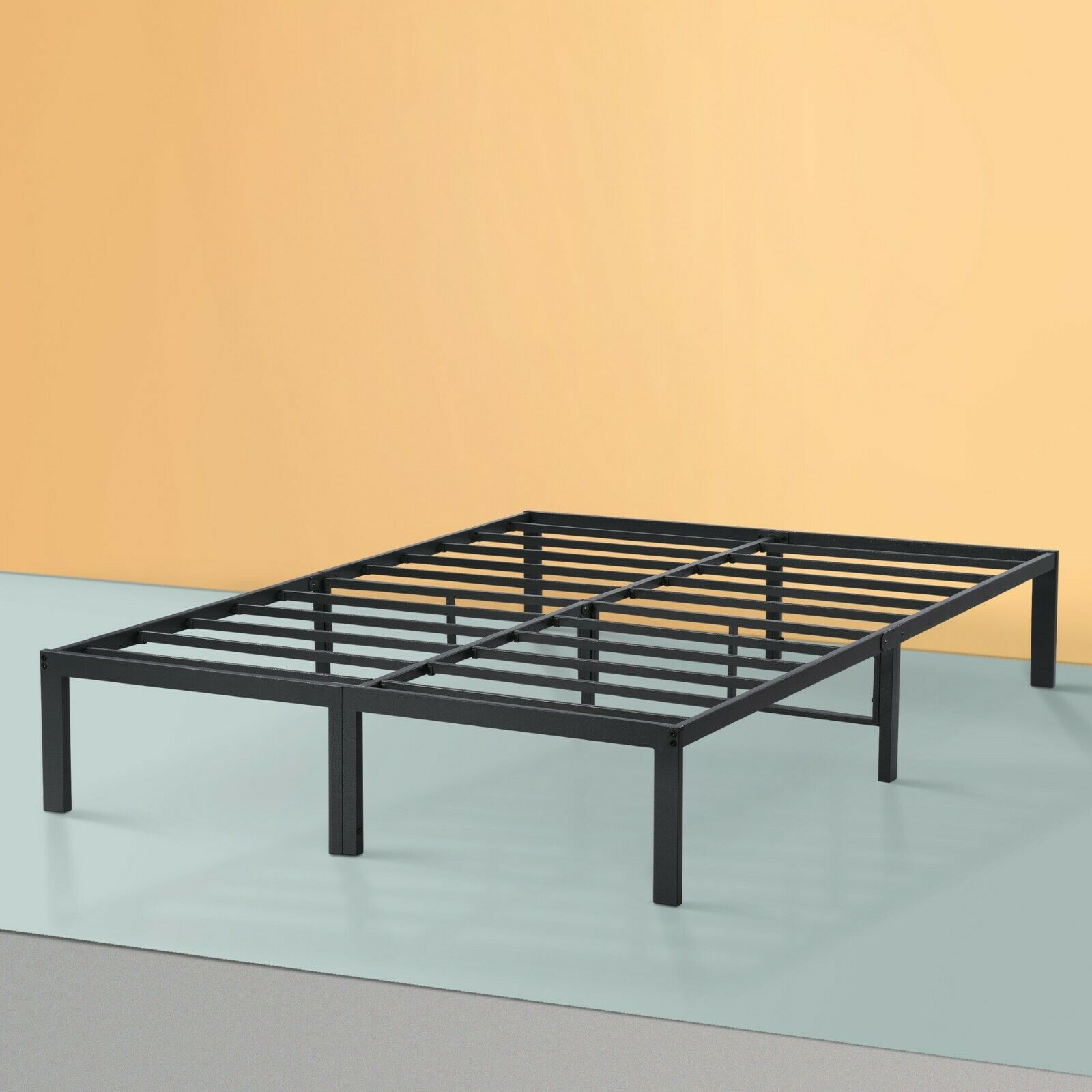 SLEEPLACE Dura Metal Steel Slate Bed Frame - Gray Twin,Full,
