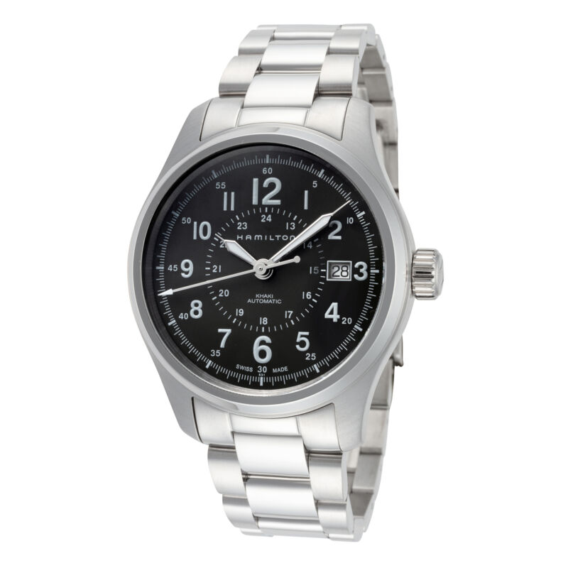 Hamilton-Men-Khaki-Field-H70595163-40mm-Green-Dial-Stainless-Steel-Watch
