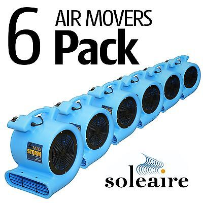 6 Pack Soleaire Blue Max Storm Air Mover Carpet Dryer Floor Fan Water Damage