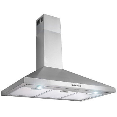 "36"" Wall Mount Stainless Steel Push Panel Kitchen Range Hood Cooking Fan"