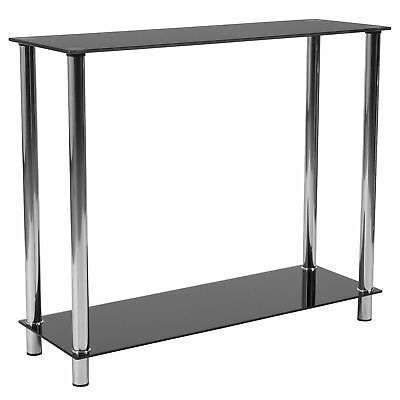 Flash Furniture Riverside Collection Black Glass Console Table with Shelves and Black Glass Console Table