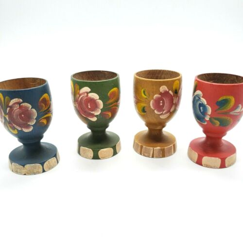 Set of 4 Hand Painted Rosemaling Wooden Egg Cups Vintage Red Yellow Blue Green