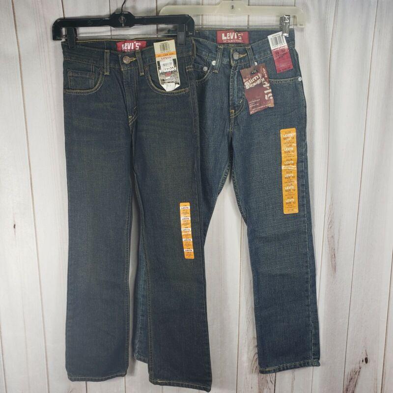 2 X Levis 514 NEW Straight Leg Boys 12 Slim Fit Blue Denim Jeans NWT Lot