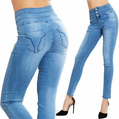 Jeans donna pantaloni skinny vita alta elasticizzati slim bottoni TOOCOOL BN9842