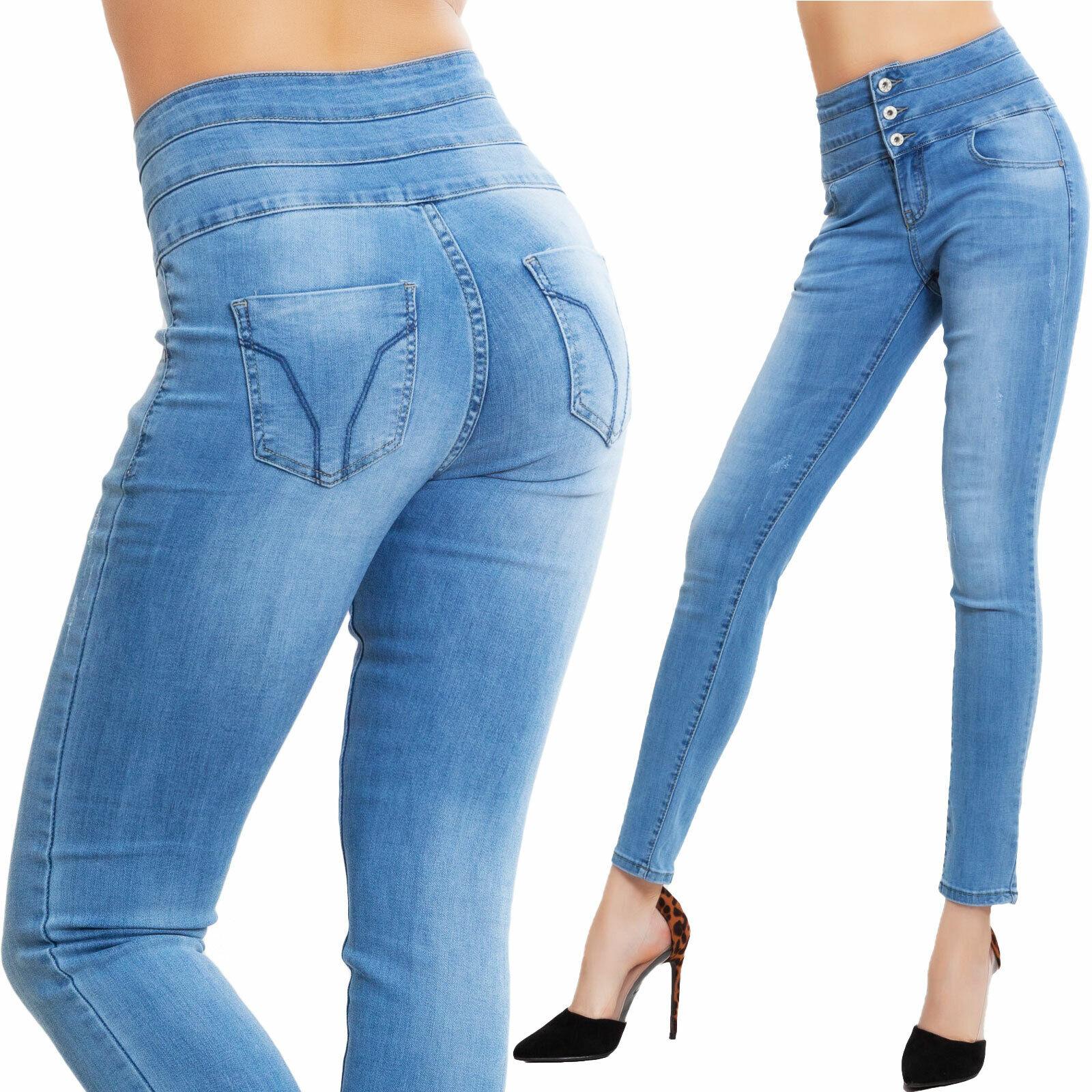 KOUCLA highwaist jeans skinny donna pantaloni jeans con cintura