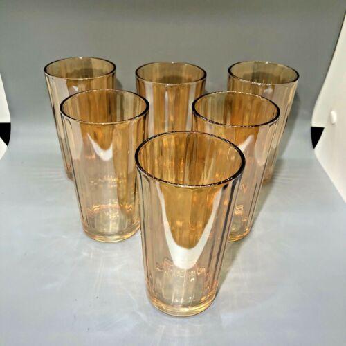 6 Vintage Peach Lustre Luster Drinking Tumblers Glasses Mid Century EUC