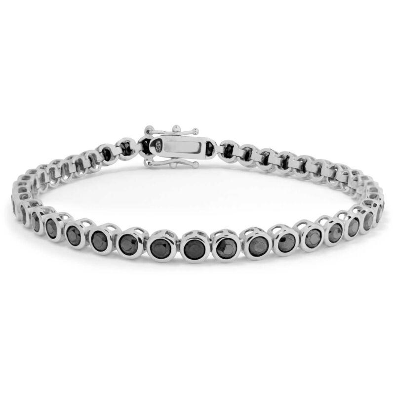 Sterling Silver Black CZ Tennis Bracelet 3mm Round Cut Cubic Zirconia