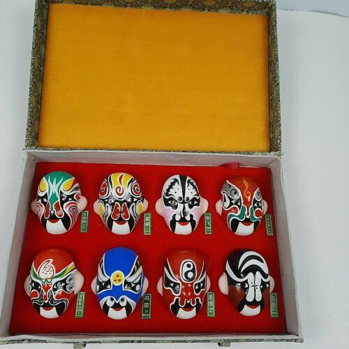 Set Of Eight Chinese Beijing Miniature Clay Face Opera Masks Gift Box