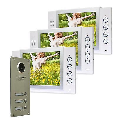 """3 Familienhaus Farb Video Türsprechanlage 8"""" Monitor LED Nachtsicht Cam 110°"""