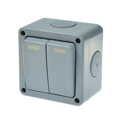Outdoor 2 gang double 2 way light switch IP66 weatherproof Waterproof Outdoor  - Gang Outdoor Switch