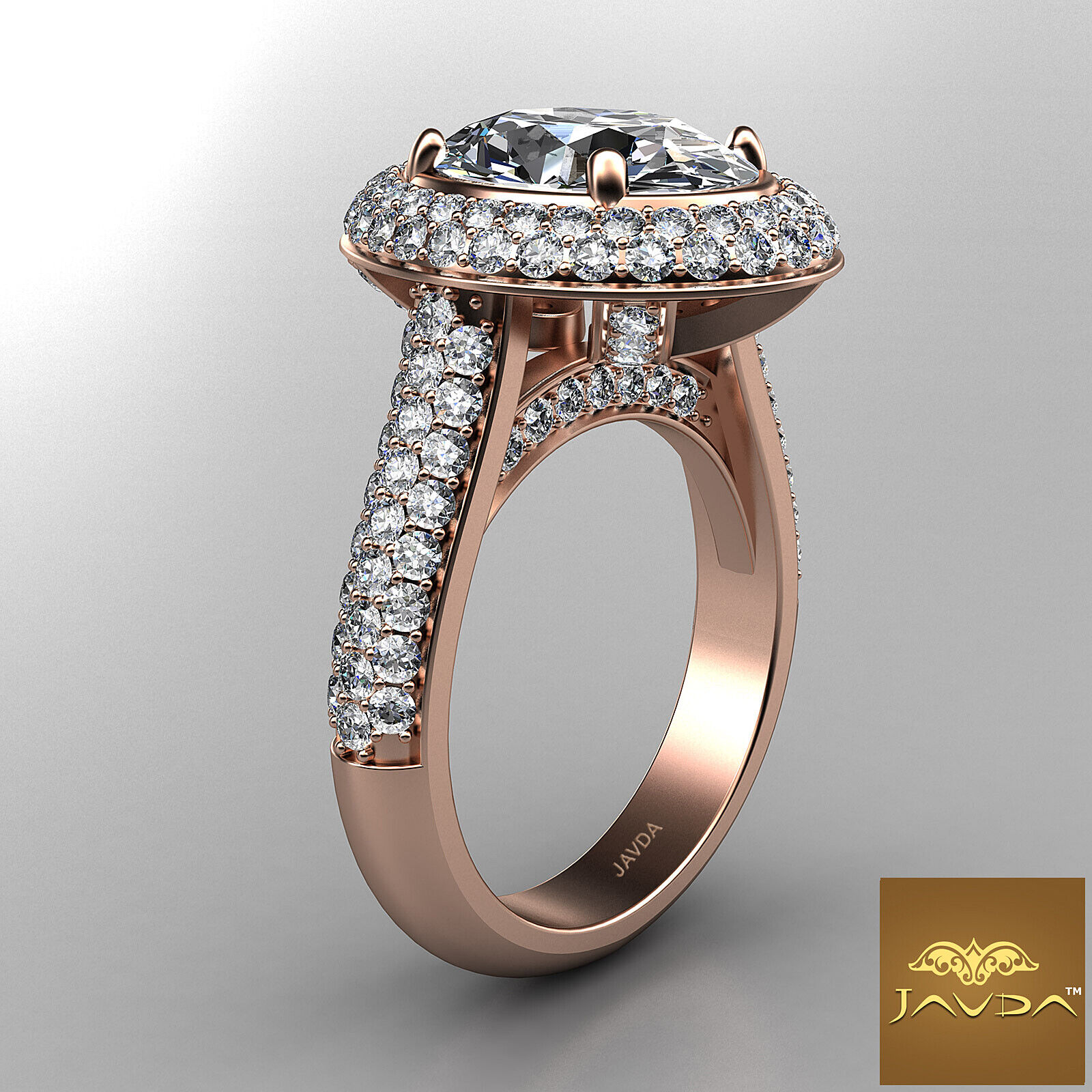 3 Row Shank Double Halo Oval Diamond Engagement Prong Setting Ring GIA F VS1 3Ct 11