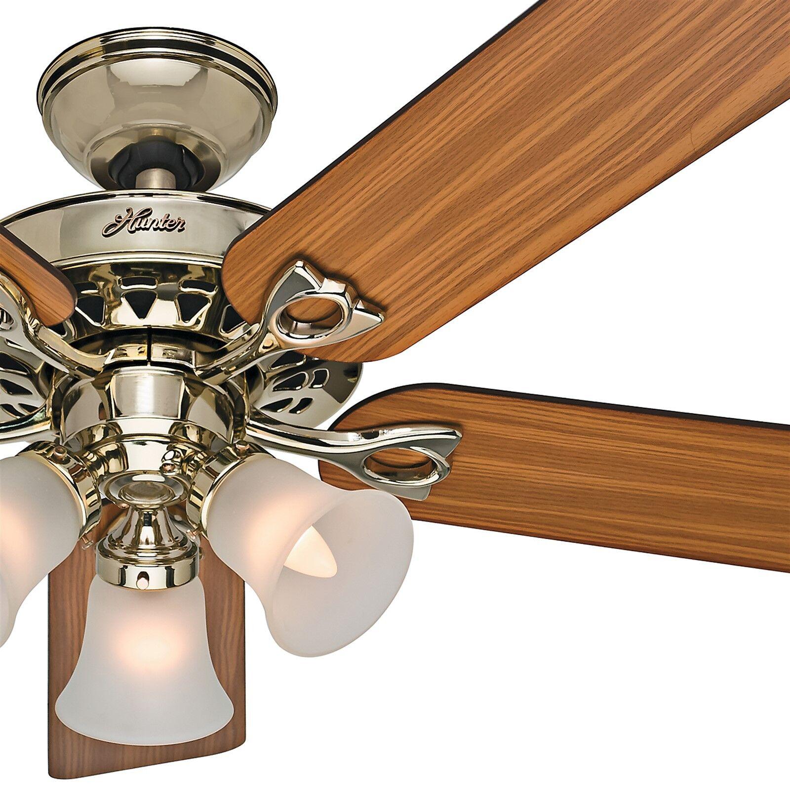 "Hunter Ceiling Fan Light Fixture Wire A Ceiling Fan Net: Hunter 52"" Bright Brass Ceiling Fan; Reversible Blades"