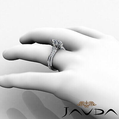 Micro Pave Set Marquise Diamond Engagement Ring GIA Certified I Color SI1 2 Ct 4