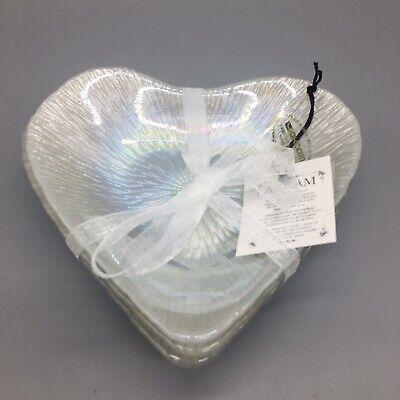 Pearl Dessert (4 Akcam Pearl Shimmer Glass Heart Appetizer Dessert Plate Dish Set Valentine)