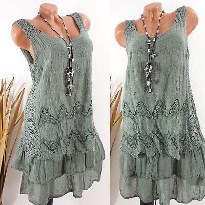 Kleid Damen Sommer Hippie Strand Lagenlook Ibiza Boho Stickerei oliv 38 40 42