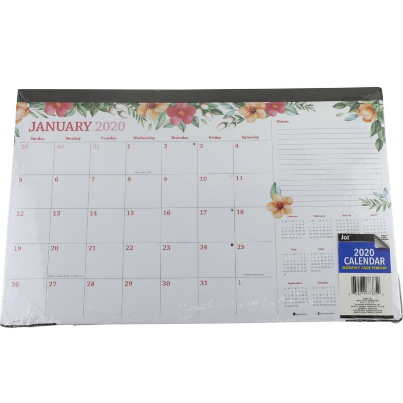 "Jot 2020 Monthly Desk Pad Calendar 11"" x 17"" Floral Flower Edge Design"