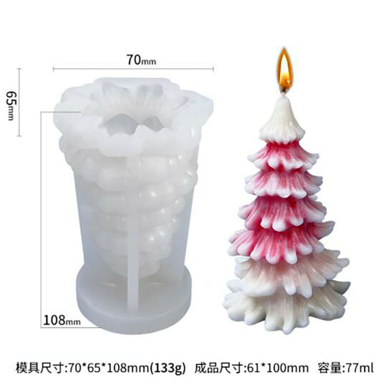 Christmas Tree Silicone Candle Mold Handmade Silicon Soap Epoxy Mould Size S