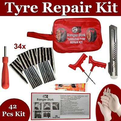 Emergency Car Van Motorcycle Tubeless Tyre Puncture Repair Kit 42 Pieces