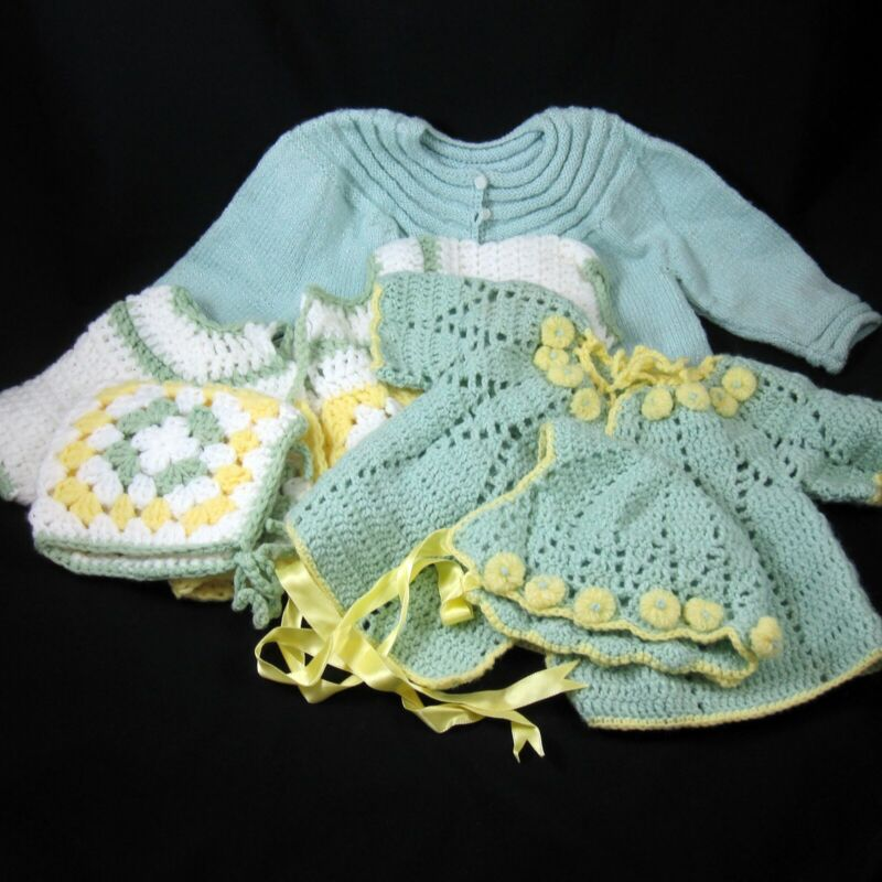 Lot of 3 Baby Sweater Sets Hand Crochet Knit Vintage 1970s Green Blue White