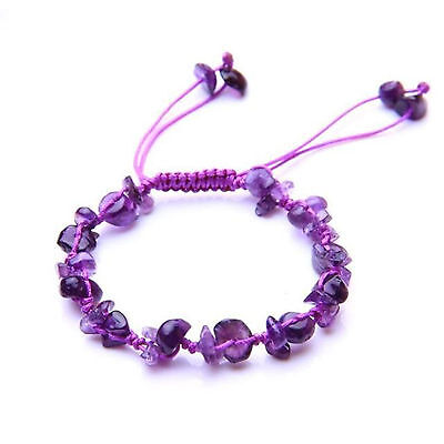 Feng Shui handmade Amethyst  chips crystal beads bracelet  for healing  health